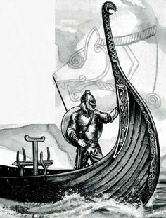 """Beowulf sails for Heorot Hall. (Roger Raupp from """"Three cheers for Beowulf, Different portraits of the legendary hero"""", Dragon magazine No. 85, May 1984.)"""
