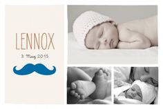 Geburtskarte Kavalier by Marion Bizet für Rosemood.de #babykarte #schnurrbart #modern #fotos
