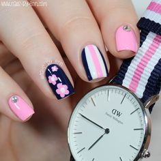 Nailpolis Museum of Nail Art | Navy and Pink Mix