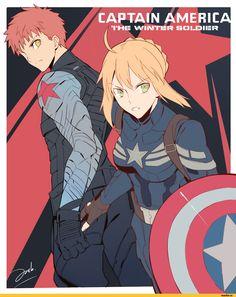 Captain America Arturia and Winter Soldier Shirou (1000×1248)