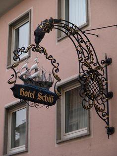 Rastatt, Germany: Schiffstrasse, Hotel Schiff: ironwork sign