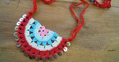 pinterest colares em croche | crochet necklace, red,cream,turquoise,blue,pink, sequines ...