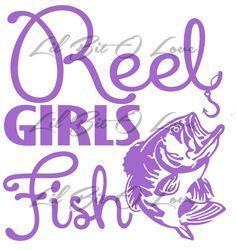 Mini Version Reel Girls Fish Vinyl Decal Sticker With Bass Fishing | LilBitOLove - Housewares on ArtFire