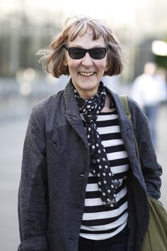 I absolutely admire this older lady's style. Polka dots & stripes. Seattle,Wa