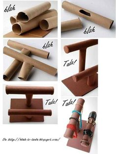 DIY Paper Roll Jewelry Display - this would be great and easy to reinforce with paper mache  and could even be covered in fabric..