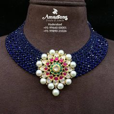 Sapphire Mala with Polki Pendant Amarsons jewellery.For More Info Whatsapp on : +91-9966000001 | +91-9989021026. 15 August 2019