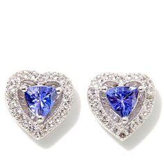 Heart Earrings 1.18ctw Tanzanite Topaz Sterling Silver Studs Colleen Lopez NEW #ColleenLopez #Stud
