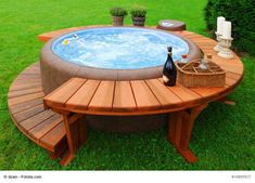 A Jacuzzi has pums that alow force creation to expel water form jets at various pressures.to control water temperature between a Jacuzzi vs Hot Tub Hot Tub Bar, Hot Tub Deck, Backyard Hot Tubs, Backyard Ideas, Desert Backyard, Sloped Backyard, Pergola Ideas, Outdoor Ideas, Outdoor Decor