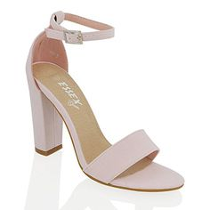 WOMENS BLOCK HEEL ANKLE STRAP SANDALS LADIES PEEPTOE STRAPPY PARTY SHOES 3-8 (UK 8 / EU 41 / US 10, PASTEL PINK FAUX SUEDE): Amazon.co.uk: Shoes & Bags