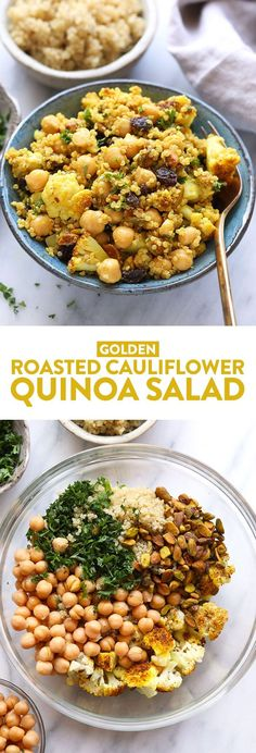 This Golden Roasted Cauliflower and Quinoa Salad is a healthy, satisfying, and delicious salad that everyone in your family will love. It is great for a quick meal-prep lunch or a light quinoa salad for dinner. You can't beat the savory tahini dressing with sweet raisins for the perfect sweet and savory combination!