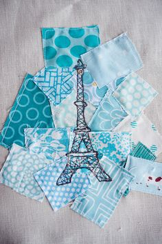 Free Motion Embroidered Eiffel Tower on scraps. Love!