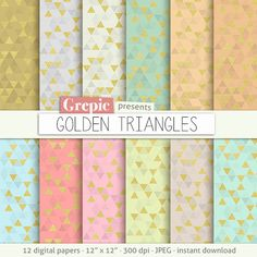 Triangle digital paper: GOLDEN TRIANGLES backgrounds glamour