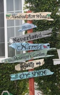 This was a fuckton of work, but I did it! My dad made the base, and I used an old bench that was falling apart in our backyard for the directional signs. I even painted them the same colors b/c this is so cute. I used Wonderland, Oz, Hogwarts, Avonlea, District 12, Narnia, and The Shire. It's now in my classroom reading nook.