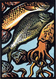 Chris Wormell | linocut | Seafood from Mediterranean Flavours, Maria Jose Sevilla, Pavilion.