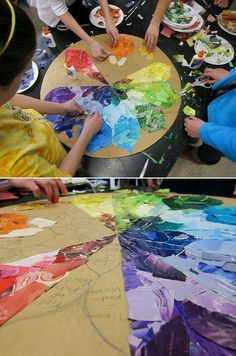 Color wheel collage group project group art projects, class projects, collaborative art projects for Collaborative Art Projects For Kids, Class Art Projects, Group Projects, Middle School Art Projects, School Auction Projects, Family Art Projects, Auction Ideas, Cool Art Projects, Project Ideas