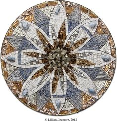 """Lillian Sizemore, 2012: """"VOX"""" 2008-2010 18 in. diameter Marbles, granites, vintage golds, transparent smalti, abalone, pyrite, blue calcite, minerals, vintage Austrian crystals, edged in 100+ yr. old antique copper from the Murphy Windmill, SF, backed in vintage copper."""