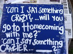 Frozen homecoming proposal! It's a quote from frozen and she said yes! Painted the letters on an added glitter around the edges leaving a blank for her to write her answer. Also included a frozen cup frozen jellybeans and frozen ring pops. #IloveDisney #Frozen