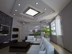 modern living room ceiling lights: recessed spotlights as ceiling decor