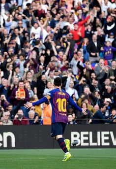 Lionel Messi Photos - Lionel Messi of Barcelona celebrates after scoring his team's first goal during the La Liga match between FC Barcelona and RCD Espanyol at Camp Nou on March 2019 in Barcelona, Spain. - FC Barcelona v RCD Espanyol - La Liga Barcelona Team, Barcelona Spain, Cr7 Junior, Lional Messi, Fc Barcelona Wallpapers, Rcd Espanyol, Lionel Messi Wallpapers, Neymar Football, Messi Photos