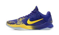 """The Nike Kobe 5 Protro """"5 Rings"""" is a special release by Nike Basketball that honors Kobe Bryant's fifth NBA Championship with the Los Angeles Lakers. The """"5 Rings"""" design originally released in 2010 following the Lakers' latest NBA Finals victory, and Nike brought back the colorway as part of its tribute to Bryant's career and popular fifth signature shoe in 2020. Accomplishments tied to Kobe's legendary career are etched into the purple Hyperfuse upper of the """"5 Rings. """" Yellow accenting… Kobe Bryant Basketball Shoes, Kobe Bryant Shoes, Kobe Shoes, Nike Basketball Shoes, Pharrell Williams, Air Max Sneakers, Sneakers Nike, Black Future, Blue Toes"""