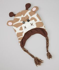 Take a look at this Brown & White Giraffe Earflap Beanie by Kids Apparel Club on #zulily today!