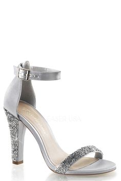 daa4a793b94 Fabulicious CARESS-416 Silver Ankle Strap Sandals in 2019