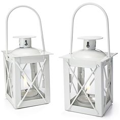 Mini Lantern Tealight Holder - White  Decorated these with a little flower and ribbon, for daughter's bridal shower favors. Table looked beautiful!