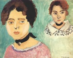 Matisse-  Double Portrait of Marguerite on Green Background   c1919