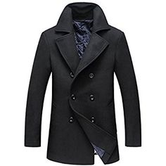 Chouyatou Men's Classic Notched Collar Double Breasted Wool Blend Pea Coat (Small, Black)