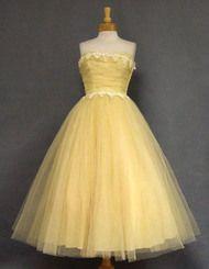 Will Steinman Lemon Tulle 1950's Prom Dress w/ Appliques