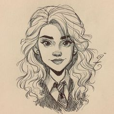 Hermione Granger from Harry PotterYou can find Hermione and more on our website.Hermione Granger from Harry Potter Cute Sketches, Girl Drawing Sketches, Art Drawings Sketches Simple, Pencil Art Drawings, Cartoon Drawings, Cute Drawings, Drawing Faces, Drawing Ideas, Drawings Of Eyes