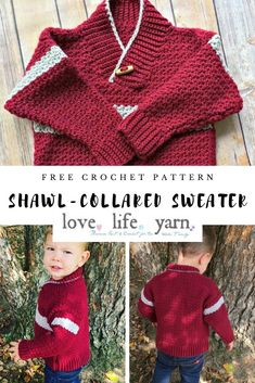 This simple shawl-collared sweater is so cute and handsome! Perfect right now for this chilly weather too! Crochet Toddler, Crochet For Boys, Easy Crochet, Free Crochet, Knit Crochet, Crochet Baby Sweaters, Crochet Baby Cardigan, Crochet Baby Clothes, Baby Sweater Patterns