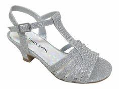 0de22f174525 Girls  Silver Dress Sandals w  Rhinestones