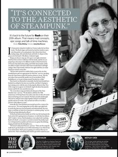 Page 1 of an article detailing an interview with Geddy Lee of RUSH discussing the band's 19th studio release 'Clockwork Angels' due in May 2012