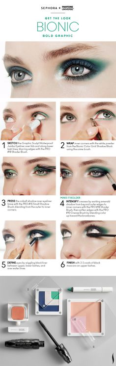 Get the Look: Bionic Bold Graphic Eyes HOW TO #Sephora #Emerald #ColoroftheYear @PANTONE COLOR