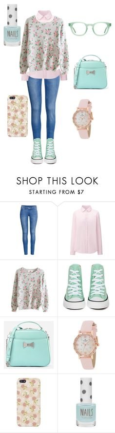 """""""Untitled #27"""" by judy-ann-mendoza ❤ liked on Polyvore featuring H&M, Uniqlo, Converse, CHARLES & KEITH, Kate Spade, Topshop and Aframes"""