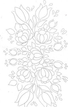Folk Embroidery Patterns Floral Bunch pattern for painting / embroidery / applique / . Love the flourishing Happy effect of this design ! Hungarian Embroidery, Hand Embroidery Patterns, Ribbon Embroidery, Embroidery Applique, Embroidery Stitches, Machine Embroidery, Embroidery Designs, White Embroidery, Painting Patterns