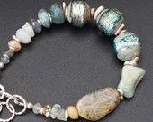 Artisan lampwork and silver bracelet / 'Morning fjord'/ Organic design / One of a kind / Organic bracelet