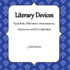 Worksheets to help students practice using and recognizing literary devices. Includes one worksheet each for Hyperbole, Alliteration, Onomatopoeia,...