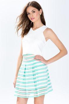 Women's Skirts | Shadow Stripe Elastic Party Skirt | A'GACI
