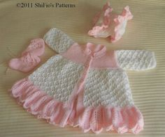 Baby Knitting Pattern Matinee Jacket, Bonnet, Booties, Knitting Pattern DIGITAL DOWNLOAD 195