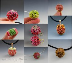 Polymer clay beads made using Eva Ehmeier's technique. These beads were made by Shimshoni.
