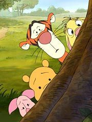 ".Piglet, Winnie The Pooh, Tigger and ....... ""Hi there Donald and Minnie. Enjoying the Disney rides?"""
