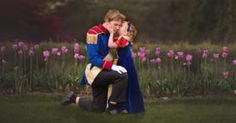 My Son Surprised His Sister With Disney Princess Photoshoot ~ We put together the Prince Charming costume and then he chose a Snow White dress to match the blue and red costume he had chosen for himself
