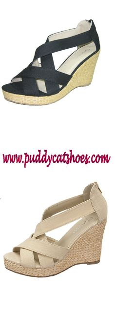 Top Moda espadrille wedge heel strappy sandals in black or beige for summer from www.puddycatshoes.com