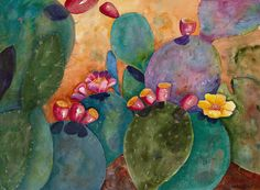 Rainbow Cactus Painting by Renee Chastant