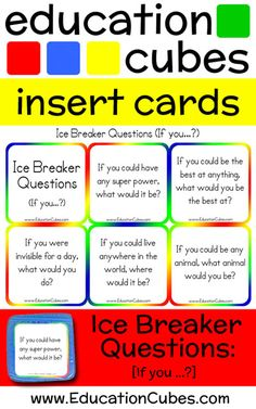 """Make """"getting to know you"""" activities more fun and interactive by using Education Cubes, customizable learning blocks for all your educational needs! Would You Rather Questions, This Or That Questions, Get To Know You Activities, Ice Breakers, Getting To Know You, First Day Of School, Super Powers, Cubes, Knowing You"""