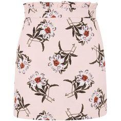 Topshop Daisy Print Mini Skirt (160 PLN) ❤ liked on Polyvore featuring skirts, mini skirts, topshop, pink, daisy print skirt, daisy skirt, flounce skirt, short pink skirt and mini skirt