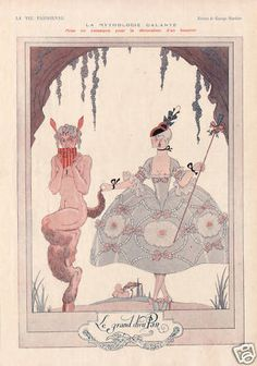 Fabulous French print from 1920s magazine LA VIE PARISIENNE.  A seductive nude Pan attempts to lure a charming mademoiselle dressed in crinoline into the woods by playing his magic flute.