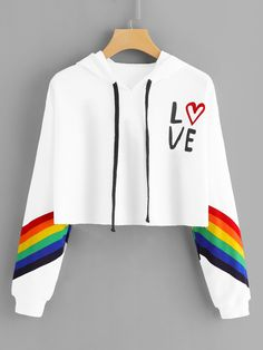 13cf28732c3361 ROMWE Striped Letter Rainbow Print Contrast Crop Hoodie Women Casual Autumn  New Style White Pullovers Long Sleeve Sweatshirt